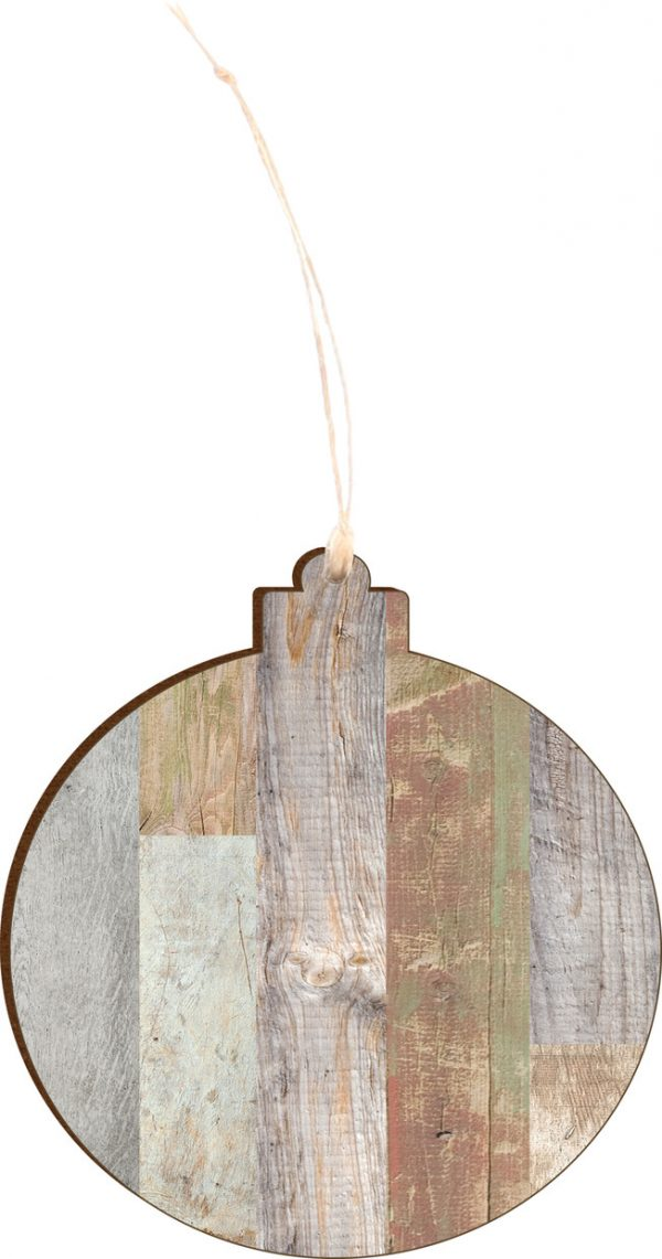 Light Faux Wood Ornament 2